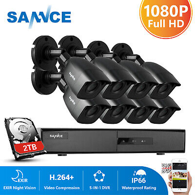 SANNCE 8CH 1080P HDMI DVR Full 2MP Video CCTV Outdoor IR Security Camera System