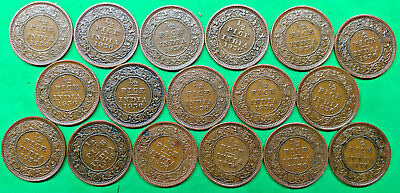 Nice Lot of 17 Mixed Old British India 1/2 Pice Coins all dated 1936 Vintage !!