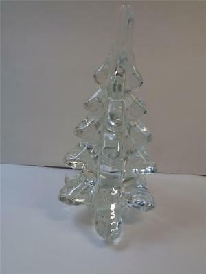 6.5 inch Heavy Crystal Glass Christmas Village Pine Tree Holiday