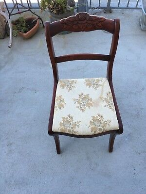 1940s Victorian Antique Hand Carved Wood Rose Back Crest chair