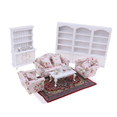 Combo of 8 Items Dollhouse Miniatures Living Room Furniture Set 1:12 Scaled