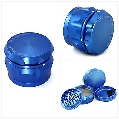 Chromium Crusher Drum 2.5 Inch 4 Piece Tobacco Spice Herb Grinder -Metalic Blue