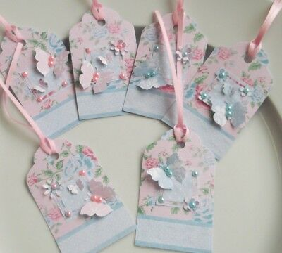 Set of 6 Handmade Butterfly Flower Gift Tags Labels Birthday Party Wrap Favour