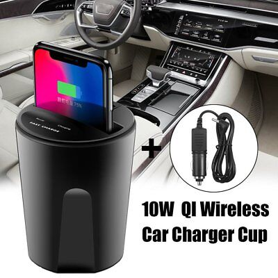 Wireless Qi Fast Car Charger Charging Cup Holder For iPhone X 8 Samsung Galaxy