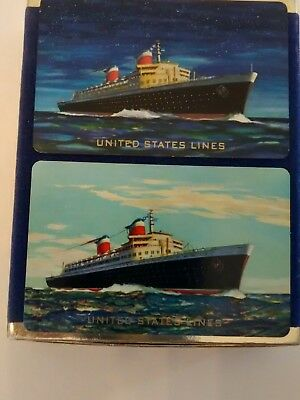 Vintage United States Lines SS AMERICA Playing Card 2 Deck Case steamship cruise