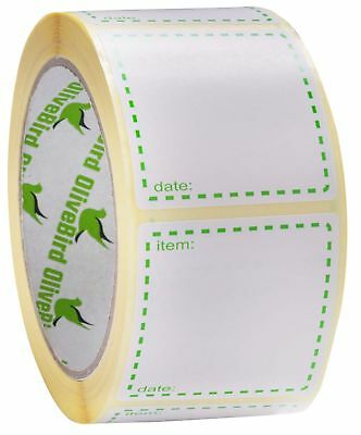 500 x Removable Freezer Labels On Roll, Size 50x50mm Square White and Green