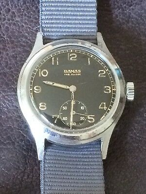 Rare Vintage Damas German Army WW2 DU Issued Military Wristwatch Cal AS 1130