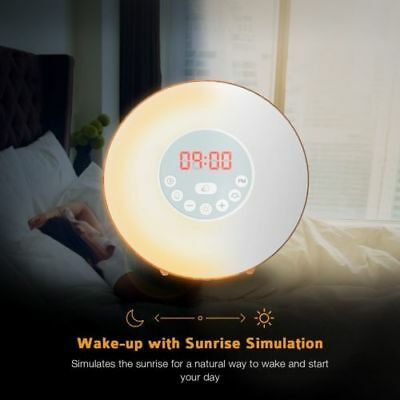 Coulax Wake Up Light Wood Sunrise Sunlight Alarm Clock with 6 Natural Sounds FM