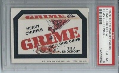 Wacky Packages Series 6 Grime Dog Food Heavy Chunks Psa 6 Exmt