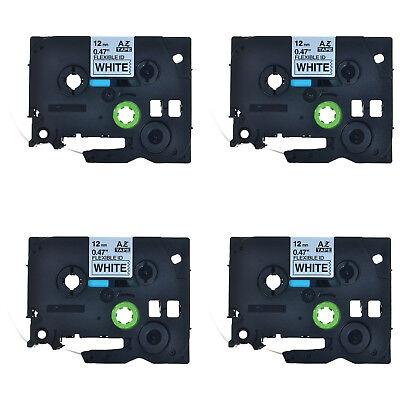 4PK Black on White Flexible Label Tape TZ-Fx231 For Brother P-Touch PT-D450 12mm
