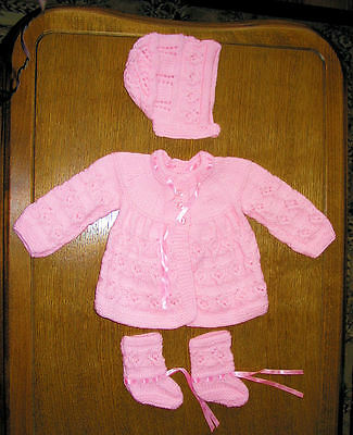 baby pink matinee set new 0 to 3 months hand knitted