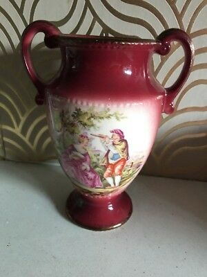 Lovely Vintage Oldcourt Ceramic Vase With French Romantic Scene