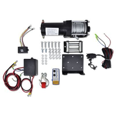 12V Electric Winch 1360 KG Plate Roller Fairlead Wireless Remote Control Trailer