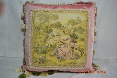 Vintage Victorian Mauve Tapestry Style Accent Throw Pillow