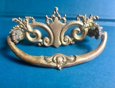 Antique Brass Shabby Chic French Ornate Victorian Drawer Bail Pull Handle 1800s