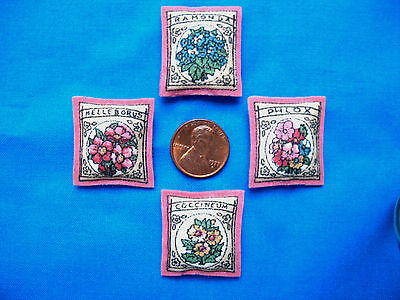 Set of 4 Miniature Dollhouse Pillows Resembling Assorted Flower Seed Packets