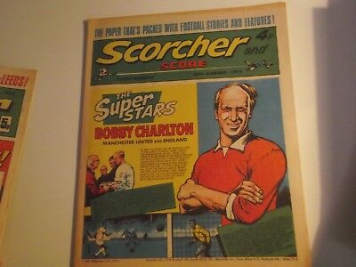 1972 Scorcher And Score Comic Bobby Charlton Of Manchester United  On Cover