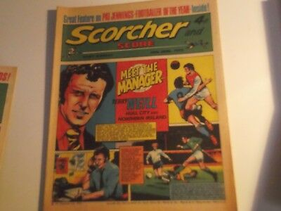 1973 Scorcher And Score Comic Terry Neil Of Hull On Cover In Meet The Manager