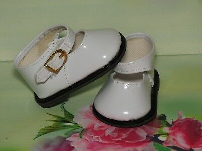 Shoes To Fit The American Galoob Baby Face Girl White Shiny Maryjane