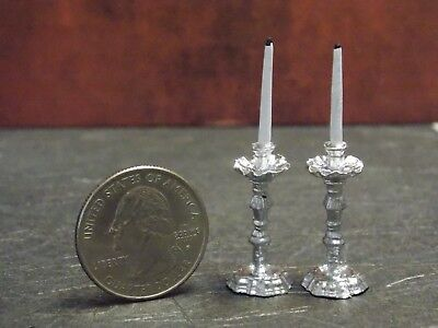 Dollhouse Miniature Gold Candlesticks Pair Candles 1:12 scale Z53 Dollys Gallery