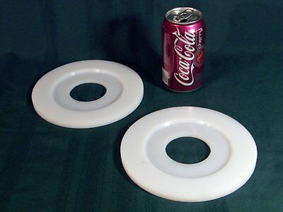 """Lot Of 2 Nylon Plastic Disc Plate Ring 7"""" Dia X 3/8"""" Thick W/flange 2-5/16"""" Hole"""