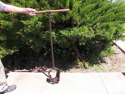 "Vintage Antique 8"" Farm Fence Post Hole Auger Tool Is 46"" Tall"