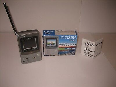 """VINTAGE Citizen LCD Color TV ST760 LCD TELEVISION Handheld 2.2"""" Screen IN BOX"""