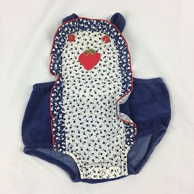 Vintage Baby Overall Terry Cloth Strawberry Vtg Blue Jumper Floral S #E