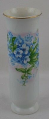 Forget Me Not Alaska State Flower Small Cylindrical Vase Hand Painted Unmarked