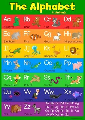 A3 Learn Animal Alphabet - Childrens A3 Wall Chart Educational Childs Poster