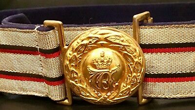 Imperial German, WW1, Minty Wurttemberg Officer's Dress Brocade Belt & Buckle