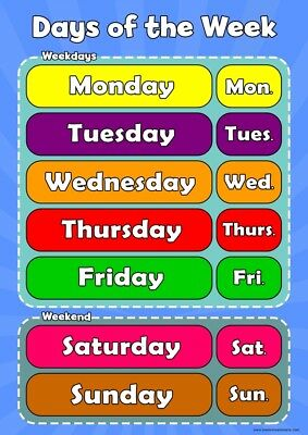 A3 Days of the Week - Childrens Wall Chart Educational Childs Poster Classroom