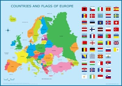 A3 Map of Europe With Flags  - Educational Wall Chart Poster Kids Classroom