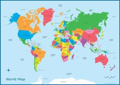 A3 Map of the World  - Educational Wall Chart Poster Kids Classroom World Map