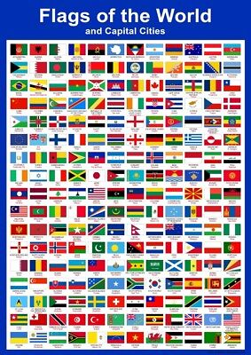 A3 Flags of the World & Capital Cities - Educational Wall Chart Poster Classroom
