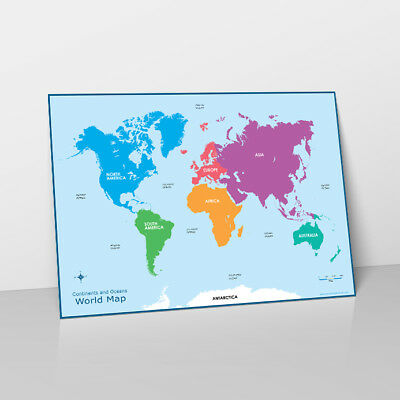 WORLD MAP CONTINENTS & Oceans Learn Childrens Poster Wall Chart Map ...