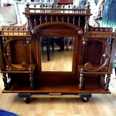 Antique Victorian 1800s Sideboard Buffet Parlor Organ Mantle Top Ornate Fretwork