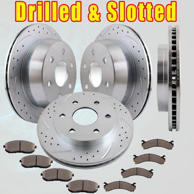 Front Rear Drill Brake Rotors and Pads for 1999-00 GMC Sierra 1500 SLE 4.3L 4.8L