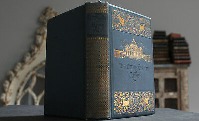 Rare Antique Old Book Eternal City Rome Italy Religion Monuments Art Maps 1896