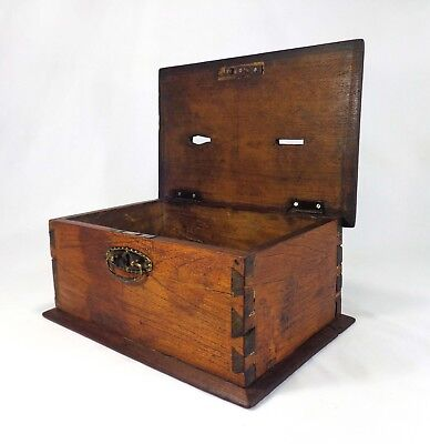 Mid-19Th Cent Antique American Masonic Dovetailed Wooden Hinged Pine Ballot Box