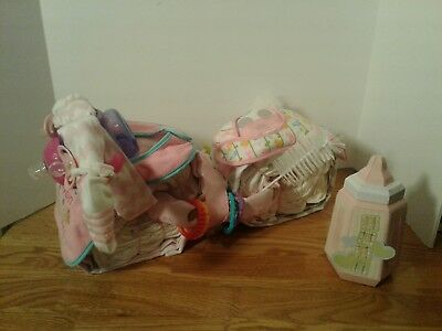 Motorcycle Diaper Cake Girl Centerpiece Baby Shower Gift Pink