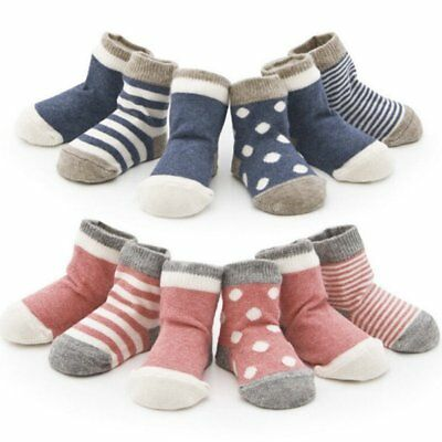 4 pairs Baby Girl Boy Anti-slip Socks Striped Newborn Slipper Shoes Boots 0-24M