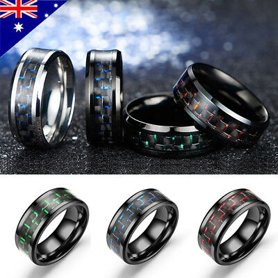 Men's Black Tungsten Ring With Carbon Fiber 8mm Wedding Band Men Jewelry Fashion