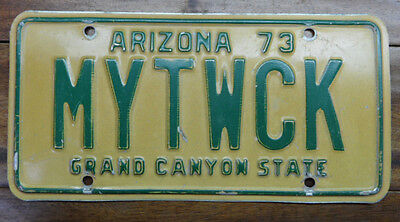 "Very Cool 1973, Early Arizona  Personalized License Plate Mytwck ""my Truck"""