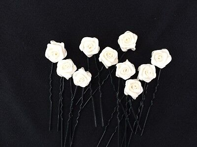 10pcs Handmade Roses Bridal Hair Pins Accessories Clips Hairpins Wedding Party