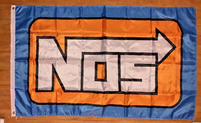 NOS Nitrous Oxide System Logo 3X5 Wall Banner Flag Gift Drag Racing Car Show