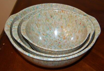 Vintage nesting confetti splatter Melmac mixing bowls with handles (3)