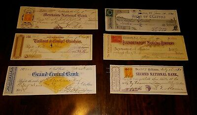Antique Bank Check Lot Cheque Revenue Stamp