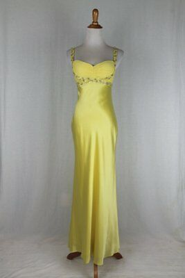 Adrianna Papell 1930's Inspired Beaded Yellow Silk Satin Bias Cut Gown 2P NEW