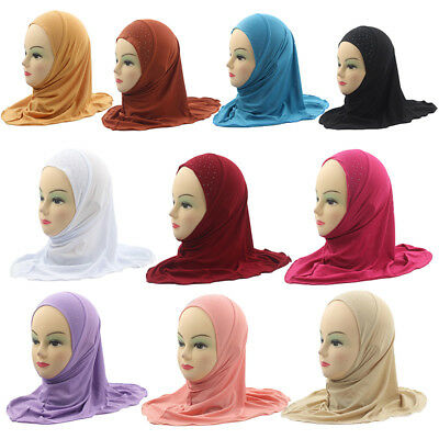 Muslim Hijab Shawls Simple Soft and Stretch about 45cm For 3 To 8 Y Kids Girls